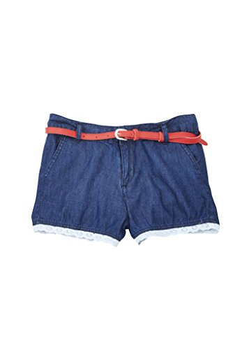 [A33423-DNM-12] Chilipop Denim Shorts for Girls, Belted with Lace Trim, Dark (Glamour Belted Belt)
