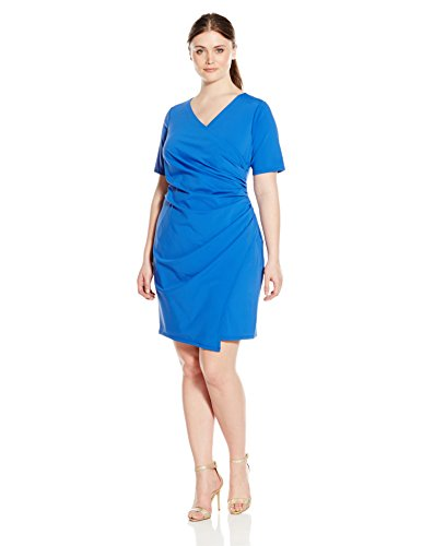 Adrianna Papell Women's Plus Size Solid V-Neck Ruched Techno Knit, Royal, 16W