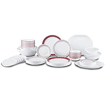 Corelle Livingware 74 Piece Crimson Trellis Dinnerware Set with Storage Lids White  sc 1 st  Amazon.com & Amazon.com | Corelle Livingware 74 Piece Crimson Trellis Dinnerware ...