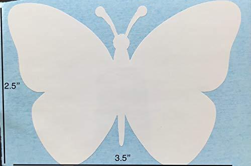 Retractable Screen Door Decals (Stickers) - 5 per Package - Keep Children Safe - Alert Birds, Dogs, Kids - Warn, Protect, Window Safety - Butterfly (White) (Door Accents Screen)