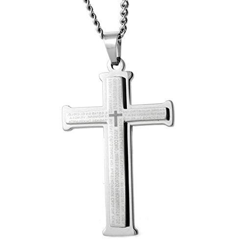 Double Cross Pendant - Joybeauti High Polished Stainless Steel Prayer Double Cross Pendant Necklace Spanish for Mens 24 Inches with Gift Box (Steel)