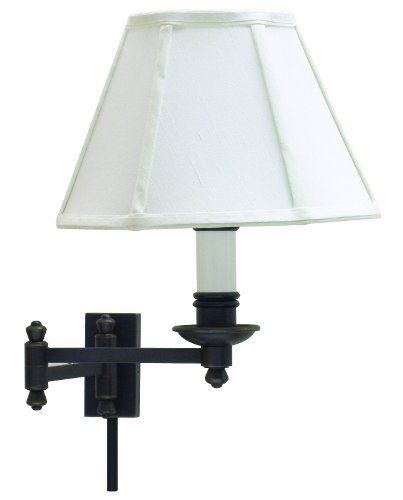 Cheap House of Troy LL660-OB Library Lamp Collection Swing Arm Wall Lamp Oil Rubbed Bronze with Off-white Softback Shade