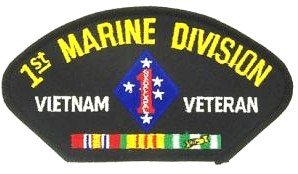 (1ST MARINE DIVISION VIETNAM VETERAN BLACK PATCH(Can be sewn or ironed on jacket or hat) Patch 3