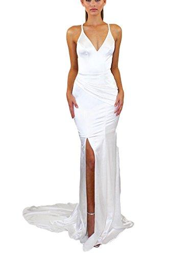Drehouse Sexy Haïsseur Backless Robes De Bal Sirène En Satin Des Robes Formelles De Femmes Blanches