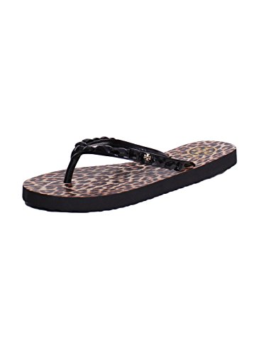 Tory Burch Jeweled Trim Animal Printed Thin Flip Flops Sandals In Black Leopard Size - 5 Size Burch Tory