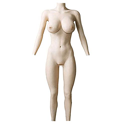 Mikiki Silicone F Cup Bodysuit Silicone Breast Vagina Bodysuit with Sleeves Buttocks Pad Fake Pussy (with Zipper and Public Hair) White (Fake Cheap Vagina)