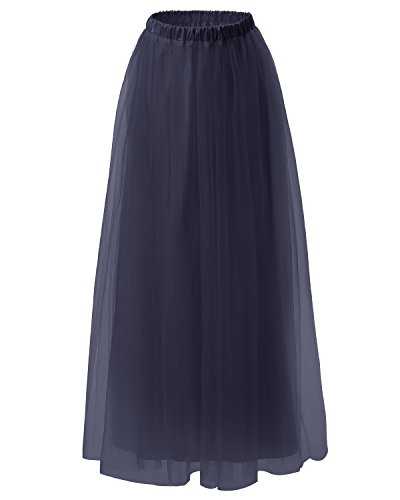 Dresstells Women's Long Tulle Skirt Maxi Prom Evening Gown Two Way Formal Skirt Navy L