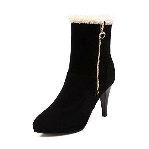 AgooLar Damen Reißverschluss Mattglasbirne Hoher Absatz Rund Zehe Stiefel mit Metallisch, Schwarz, 34