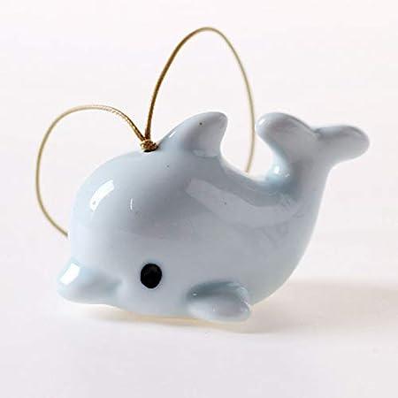 Blue KFZR Campanelli eolici Campanelli Buona Fortuna Appesi a Vento in Ceramica Ceramiche da Esterno per Interni Giardino Domestico Dolphin Rabbit