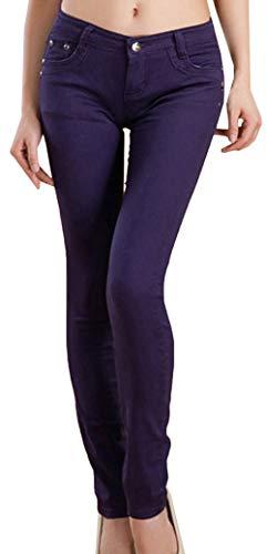 Trend Skinny Stile Autunno Leggings Corti Snone Scuro Elasticità Donna Casual Jeans A Sottili Slim Viola Lunghi Pantaloni Matita qwxH14ROt