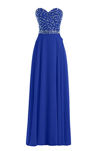 La novia de mujer en forma de corazón de la Toscana de imitación de la gasa vestido de bola vestidos de noche vestidos de fiesta largo Azul Real