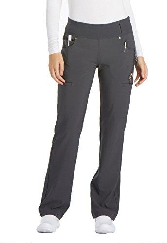 Gray Knit Pants (Cherokee Women's iFlex Mid Rise Straight Leg Pull-On Pant,Pewter,X-Small Petite)