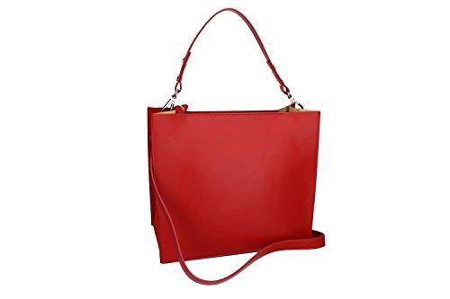 Borsa Donna Con Tracolla Pierre Cardin Rosso In Pelle Made In Italy Vn1112