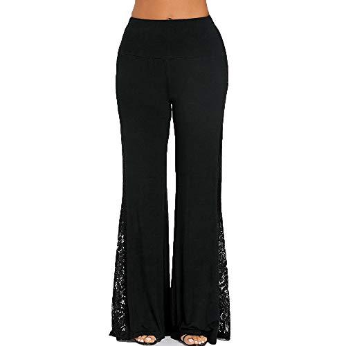 (CCatyam Pants for Women, Lace Wide Leg Loose High Waist Leggings Fashion Trouser Casual Black )