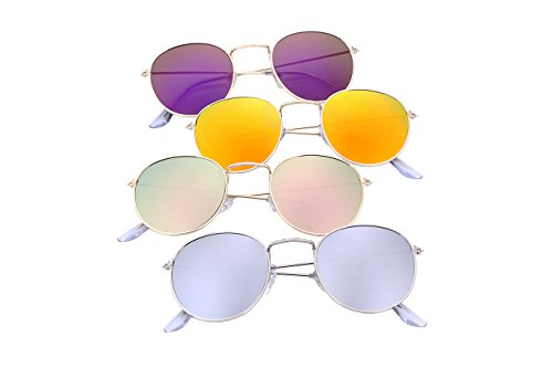 FEISEDY Retro Round Metal Frame Flat UV400 HD Lens Women Men Sunglasses B1852 1-sliver