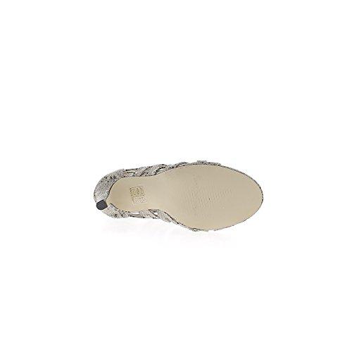 Sandales montantes taupe serpent à talon fin de 9,5cm à lacets