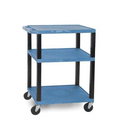 H WILSON WT34BUE-B Mobile Multimedia Presentation Portable Utility Service Cart, 3 Shelves, Blue (Presentation Shelf Cart Three)