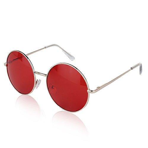 Sunny Pro John Lennon Sunglasses For Boys Alloy Unisex Eyeglasses For Men Red ()