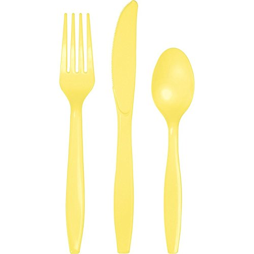 Club Pack of 288 Mimosa Yellow Premium Heavy-Duty Plastic Party Knives, Forks and Spoons ()