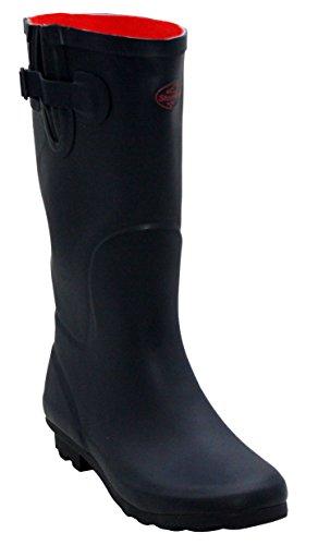 Womens Footwear Adjustable Wellies Calf Sizes Ladies New amp;H Waterproof Mud Girls 8 Rain A Wellington 3 Boots UK Rubber Navy Festival Snow 5qXtx