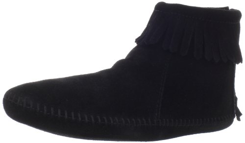 Minnetonka Women's Back Zipper Bootie,Softsole Black,10 M US