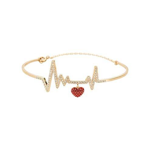 (LEEPLING Red Crystal pavé Heart Dangling Bracelet Heartbeat line Motif Gold Plated Jewelry Birthday Wedding for Women)
