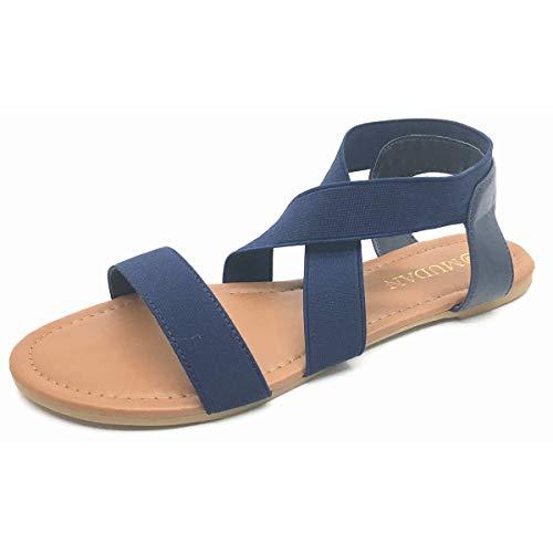 - MUDAN Women's Elastic Flat Sandals (8 B (M) US, Navy Blue-b)