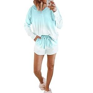 ROSKIKI Womens Tie Dye Printed Pajamas Set Short Sleeve Tee and Pants PJ Set Loungewear Nightwear Sleepwear