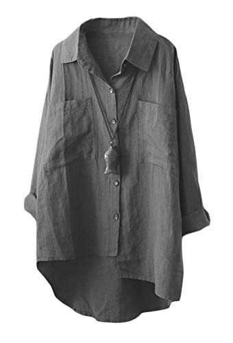 - Mordenmiss Women's Linen Shirt Blouse Casual Button-Down Hi-Low Tunic Tops (M, Style 2-Gray)