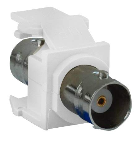 Leviton 41084-BWF Modular, BNC Adapter, Snap in, White, Quick-Port, Nickel Plated