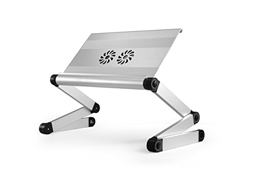 WorkEZ Cool Adjustable Laptop Cooling Stand /& Lap Desk Tray for Bed Couch with 2 Fans 3 USB Ports Mouse Pad Ergonomic aluminum height tilt angle MacBook portable standing desk converter Renewed