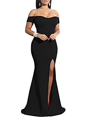 YMDUCH Women's Off Shoulder High Split Long Formal Party Dress Evening Gown