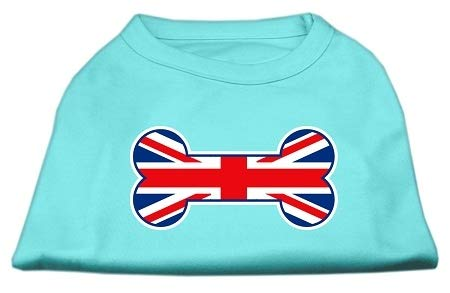 Mirage Pet Products Bone Shaped United Kingdom (Union Jack) Flag Screen Print Shirts Aqua -