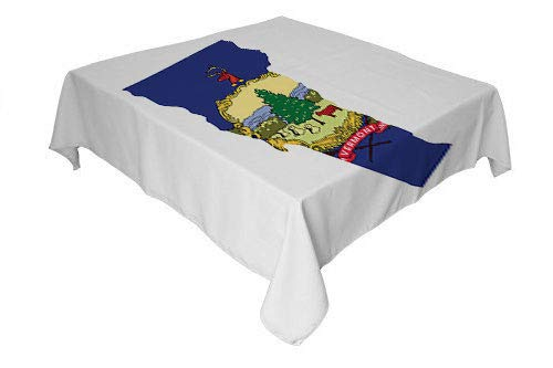 Vermont tablecloths for Kids Map and Waving Flag of US State Green Mountain Pine Tree Cow Freedom and Unity Multicolor Reusable Tablecloth Square Tablecloth 70 by 70 inch ()