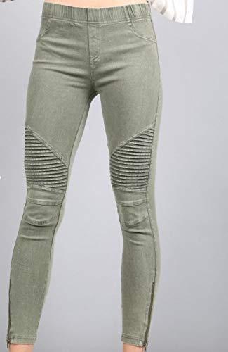 Leggings Ribbed - Beulah Womens Ankle Zip Moto Pant Medium Olive