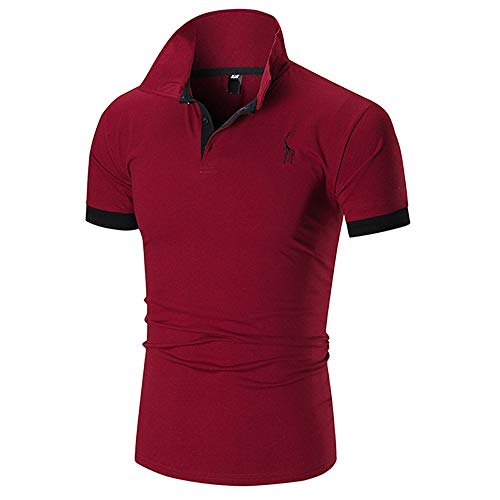 EXCOO Man Casual T-Shirt Deer Print Turn-Down Collar Red Wine