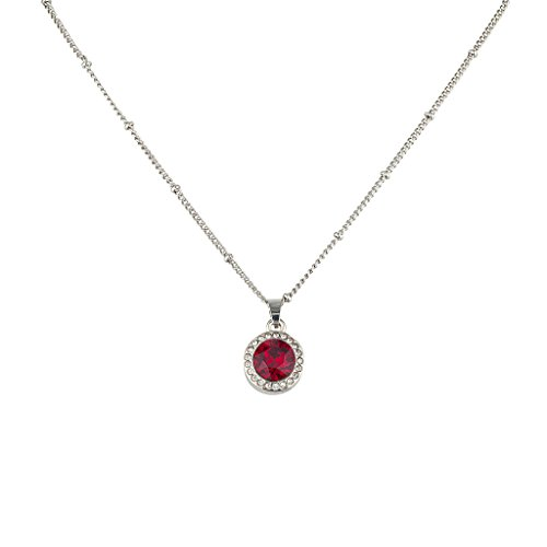 Lux Accessories Ruby Birthstone Pendant Necklace