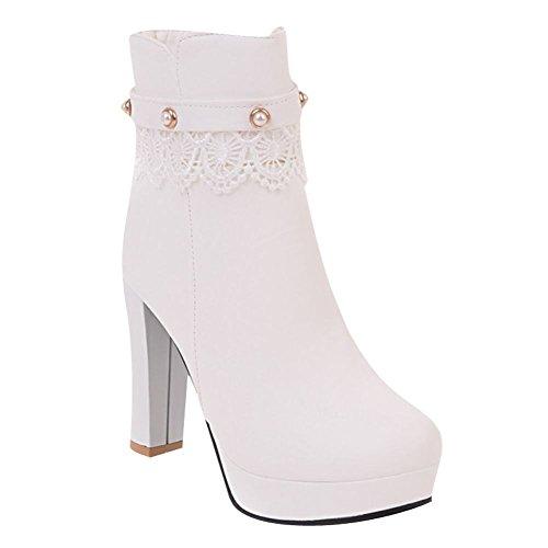 Mee Shoes Damen high heels Plateau Lace Stiefel Weiß