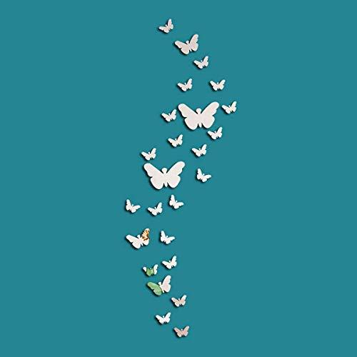Ulable Paquete de 25 pegatinas de pared con diseño de mariposa, acrílico en 3D, para decoración de espejo de pared…