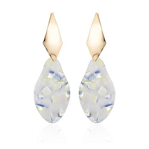 Acrylic Resin Earrings for Women - Leopard Print Mottled Geometric Gold Diamond Earrings Dangle Gift