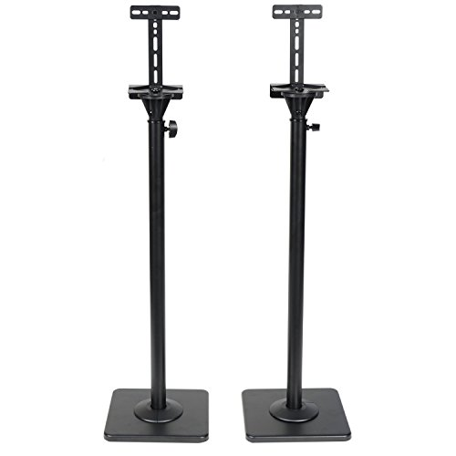 VideoSecu One Pair Height Adjustable Speaker Stands Mounts Heavy Duty Floor Stands Surround Sound Satellite Small Bookshelf Speakers Stand MS08B ()