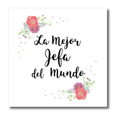 3dRose InspirationzStore - Love Series - Floral La Mejor Jefa del Mundo Spanish Best Boss in The World Flowers - 8x8 Iron on Heat Transfer for White Material (ht_312382_1)