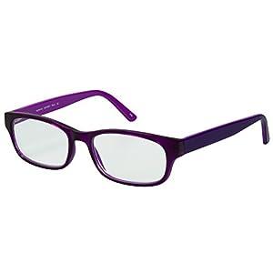 SightLine 7001 Multifocal Computer Reading Glasses. Full-Rim Designer Frame With Progressive Magnification Anti-Glare Coated Lenses (1.50, Plum)