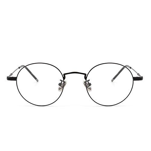62f3111b282 Galleon - Round Wire Rim Glasses Circle Frame Clear Lens Eyeglasses Optical  Eyewear Women Men (Black   Clear)