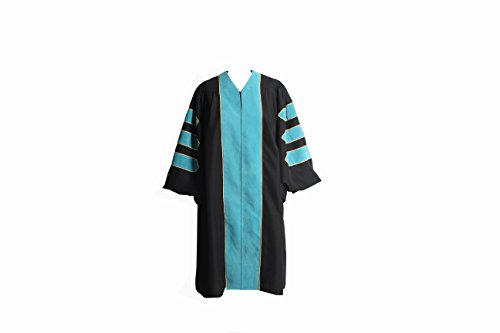 2' Wide Cuff - GraduationService Deluxe Doctoral Graduation Gown Only with Gold Piping Unisex