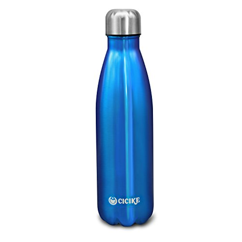 Vacuum Insulated Stainless Steel Leak Proof Sport Drinking Water Bottle by Cicike, 17oz(500ml), Eco friendly and BPA Free with Sleeve for Cycling Hiking Camping (Ocean Blue) (Ocean Blue Vacuum)
