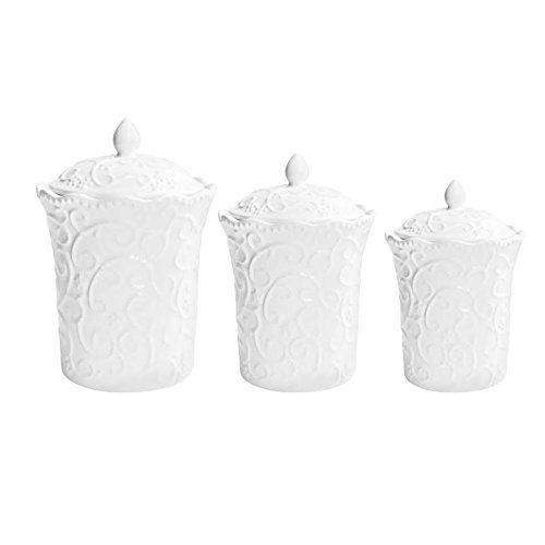American Atelier Bianca Scrolls 3-Piece Canister Set, White ()