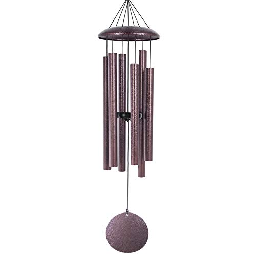 Wind Chimes Outdoor Large Deep Tone,36 Inches Memorial Wind Chimes with 6 Tubes Tuned Bass Low Tone,Sympathy Wind Chimes Amazing Grace for Garden Patio Decor, Copper Vein(A Free Card)