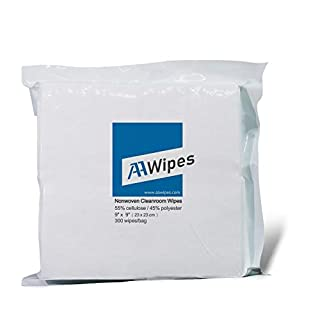 Cleanroom Wipes Nonwoven Wipes Cellulose/Polyester Blend (Grade A, 68 Gram) 9″ x 9″ (Bag of 300 Pcs) for Lab, Electronics, Pharmaceutical, Printing and Semiconductor Industries