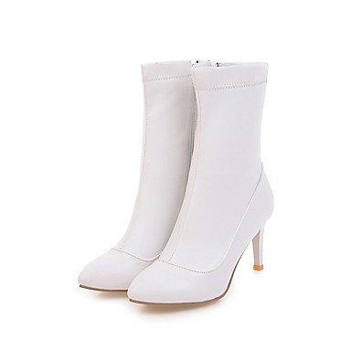 nbsp;in primavera y vestido de de blanco 3 4in 3 Casual talón otoño tarde nbsp;3 Botas zapatos blanco mujer negro cremallera piel Desy comodidad fiesta sintética Stiletto F871wF6qx
